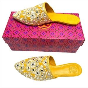 Tory Burch Elora Slide Mules embroidered Yellow 8M